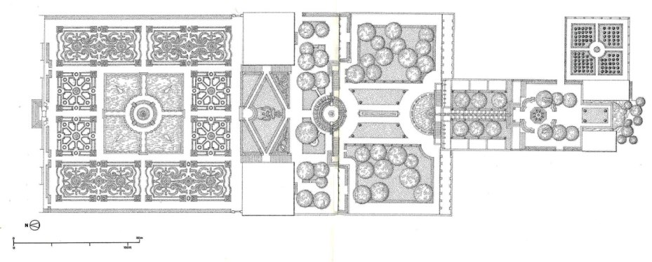 Drawn-to-scale MAP of the Main Gardens at Villa Lante. Image from THE ARCHITECTURE OF WESTERN GARDENS, courtesy of The MIT Press.