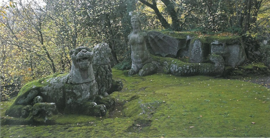 A Lion & Lioness rest, between the Two Sirens. Image courtesy of THE GARDEN AT BOMARZO, by Jessie Sheeler.