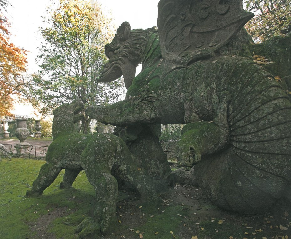 View of Dragon & Lions, with the Square of the Vases in the background. Image courtesy of THE GARDEN AT BOMARZO, by Jessie Sheeler.