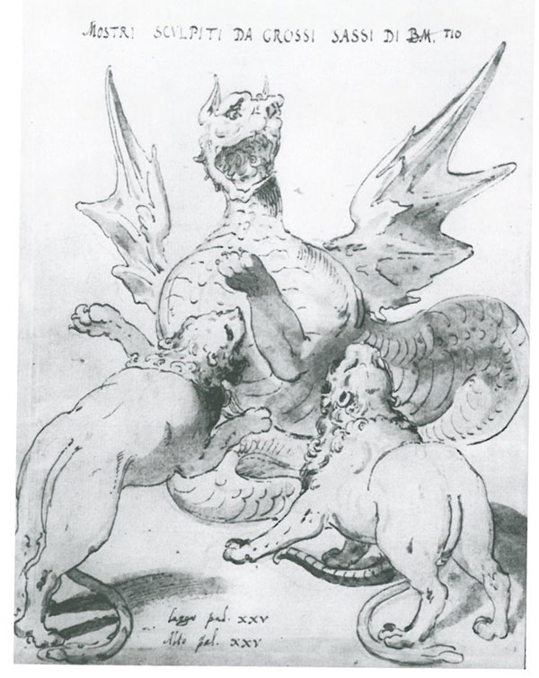 Engraving of Dragon & Lions, by Giovanni Guerra. 1604.