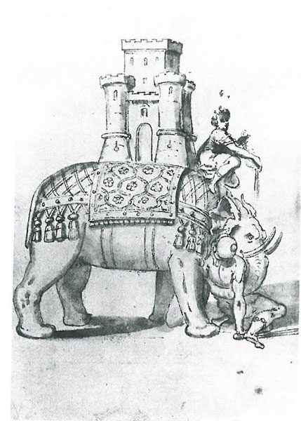 Engraving of the Elephant, by Giovanni Guerra. 1604.
