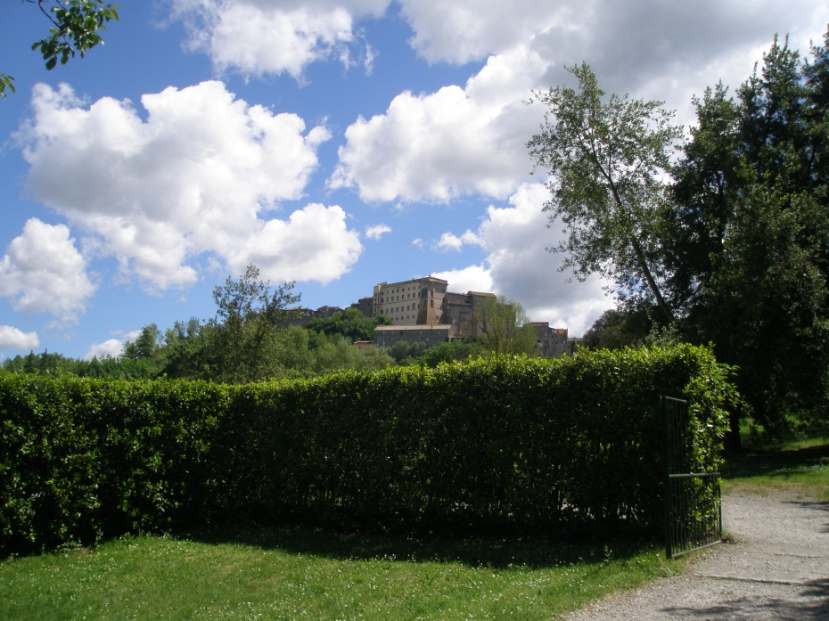 Out view of the Orsini Castle, in the village of Bomarzo, as seen from the Gates to the Garden of Sacro Bosco.