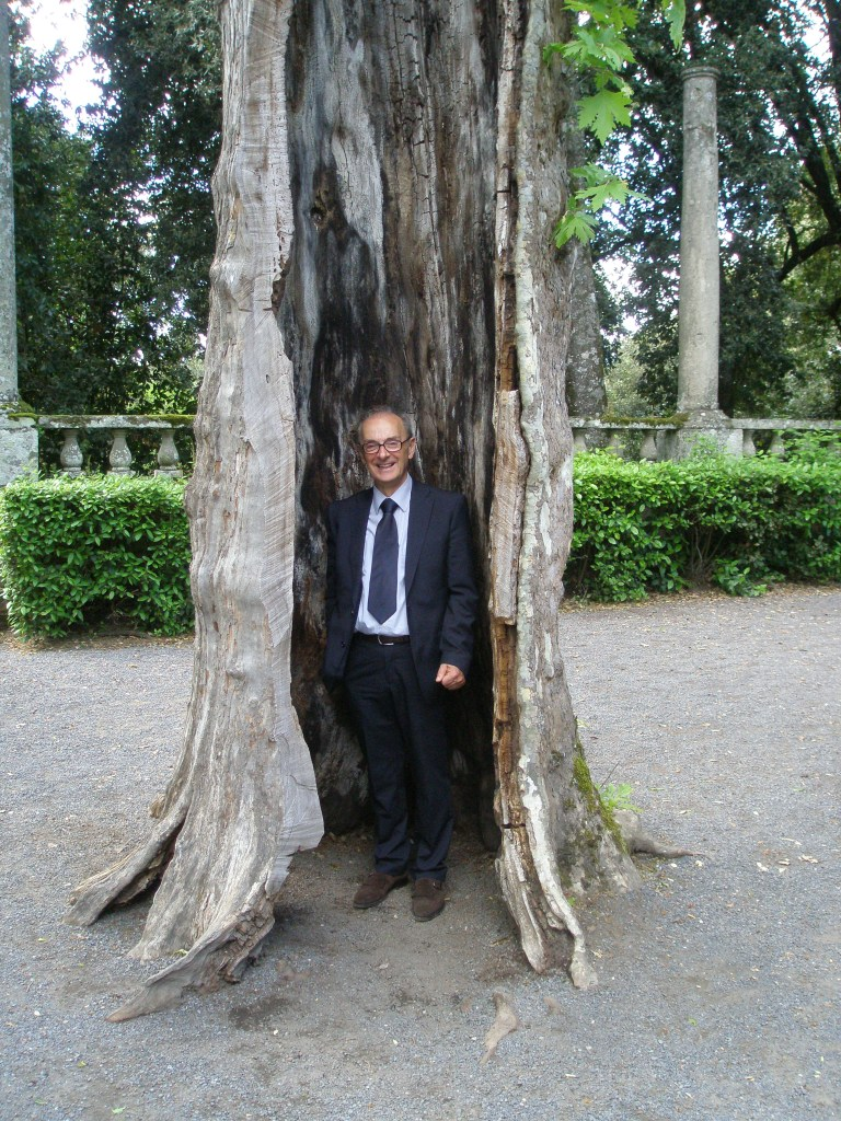 Our charming driver Anacleto: inside a hollow tree at the Fountain of the Deluge, in the gardens of Villa Lante, Bagnaia.