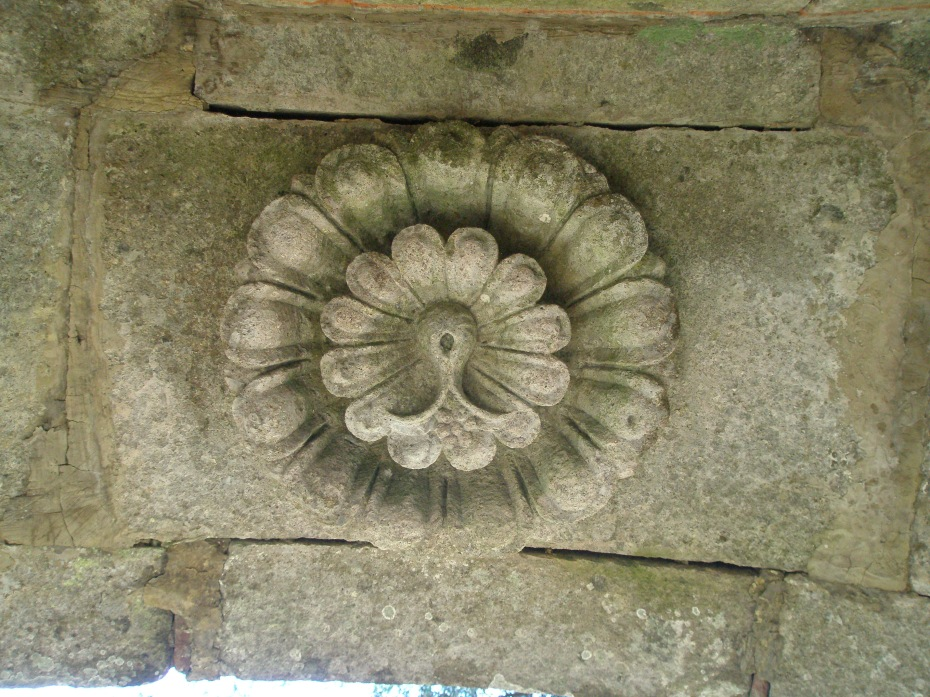 An Orsini Rose, carved into the ceiling of the Etruscan Bench