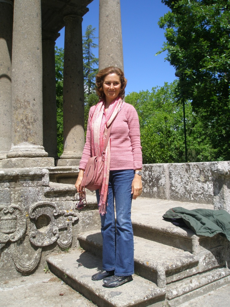 Dr. Vanella della Chiesa: looking casually elegant on the steps of the Tiempio del Vignola, at the Sacro Bosco, in Bomarzo.