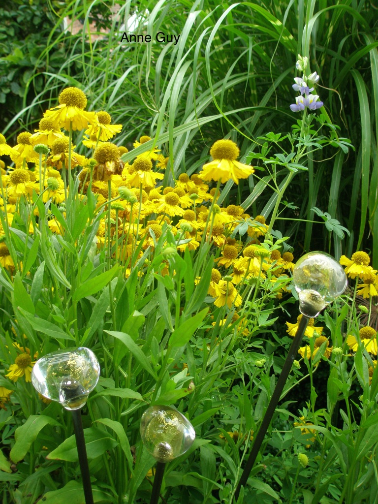 Hand-blown glass globes, on garden stakes