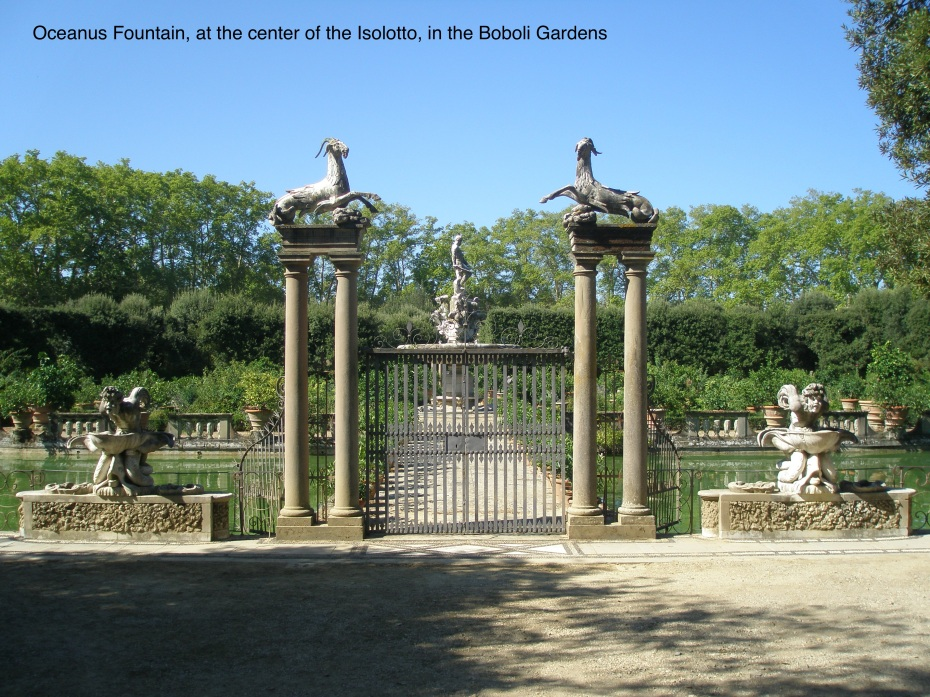 Behind locked gates in the Boboli Gardens, the massive Oceanus Fountain looms.