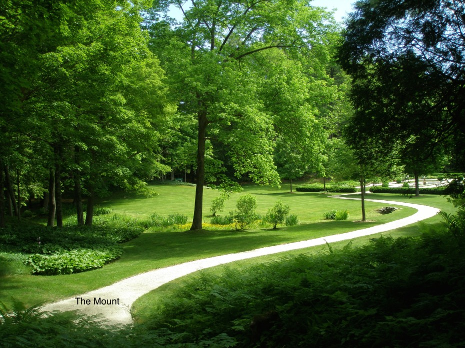 This curving path, which connects the carriage drive and the formal flower garden, was laid out by Edith Wharton. It looks utterly contemporary.