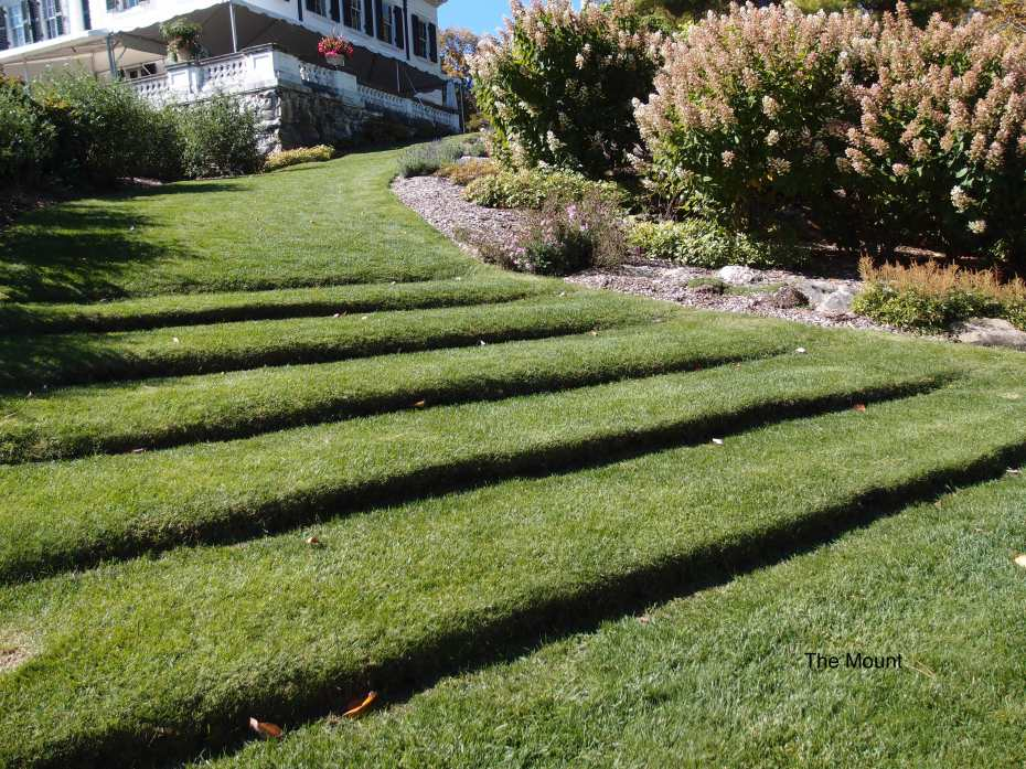 Wharton designed these essentially sculptural Grass Steps, which lead from her Flower Garden, up to the back terrace of the House.