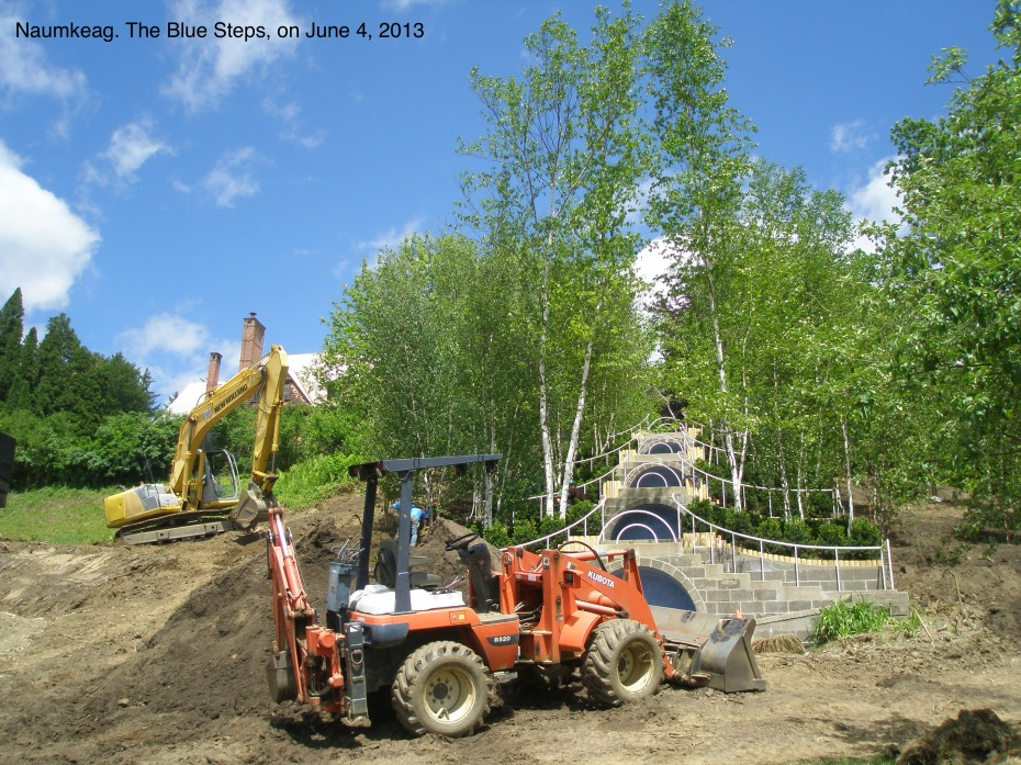 In June of 2013, the Blue Steps were being totally rebuilt, while an entirely new grove of birch trees was being planted.