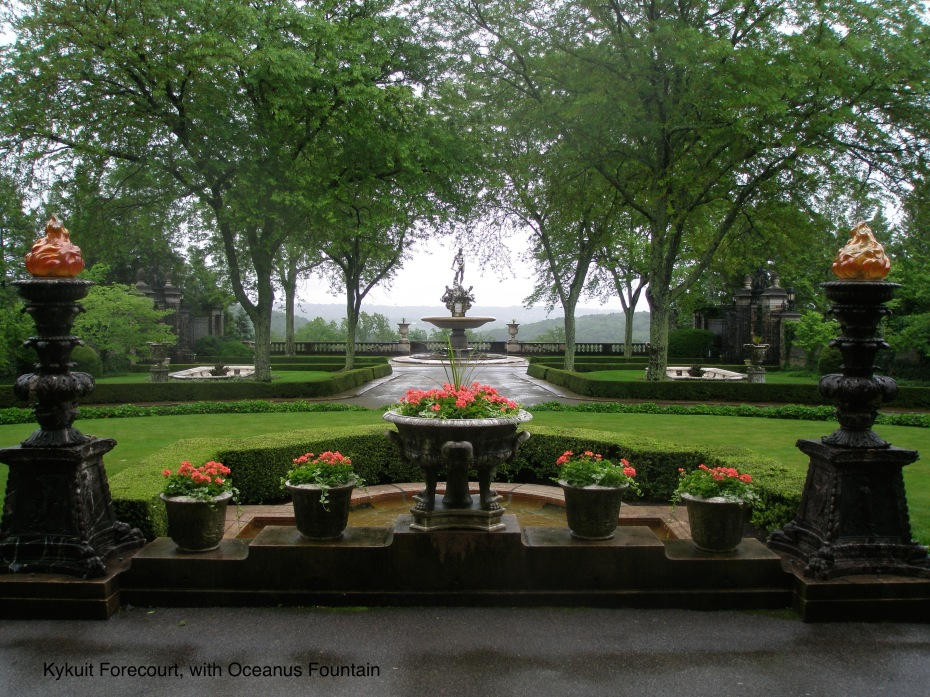 My rainy-day-in-June view of Kykuit's Oceanus Fountain, as seen from the front portico of the Main House.