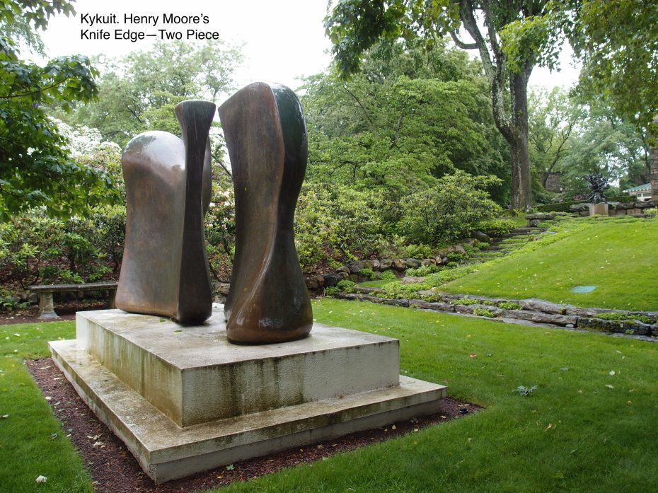 In 1962 a Henry Moore was mounted, downhill from the Rose Garden