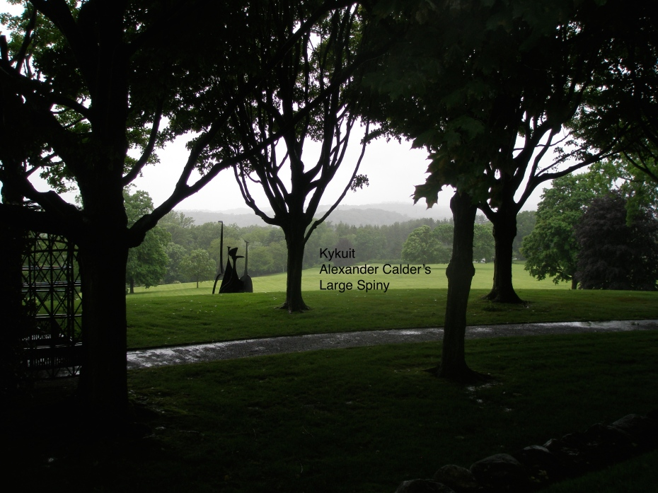 And in 1966, the most artfully-sited piece of all was placed below the Maple Walk. I took this picture in early June of 2013, during a violent rainstorm, and the silhouettes of the wet tree trunks combined with the Calder sculpture were wonderful.
