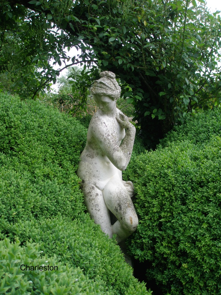 The Lady is tucked into the Drunken Hedge, which extends across the width of the Walled Garden. Drunken Hedges are in themselves a form of living sculpture. ( In a future Diary I'll show you more examples of Drunken Hedges. )