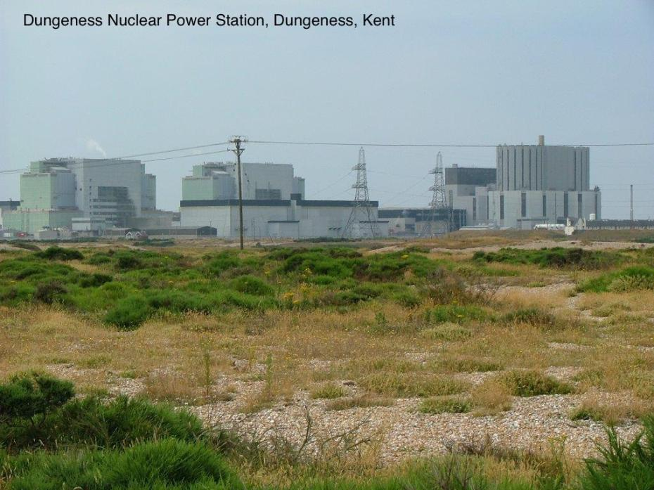 Telephoto view of the Nuclear Power Station at Dungeness, as seen from the gardens at Prospect Cottage.