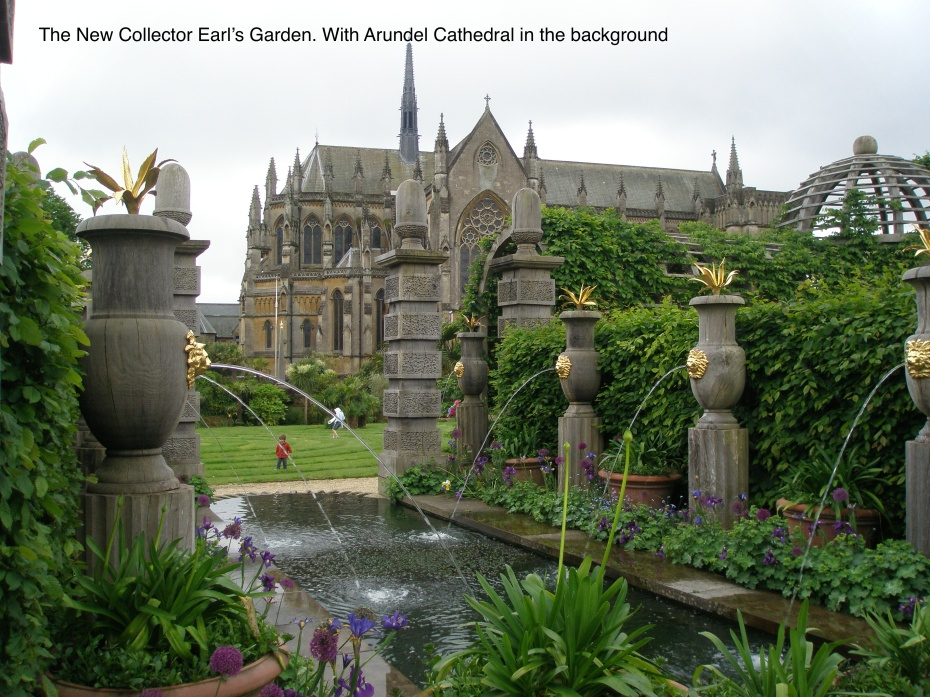 The Water Garden, with a grass Labyrinth ( and Arundel Cathedral, in the background)