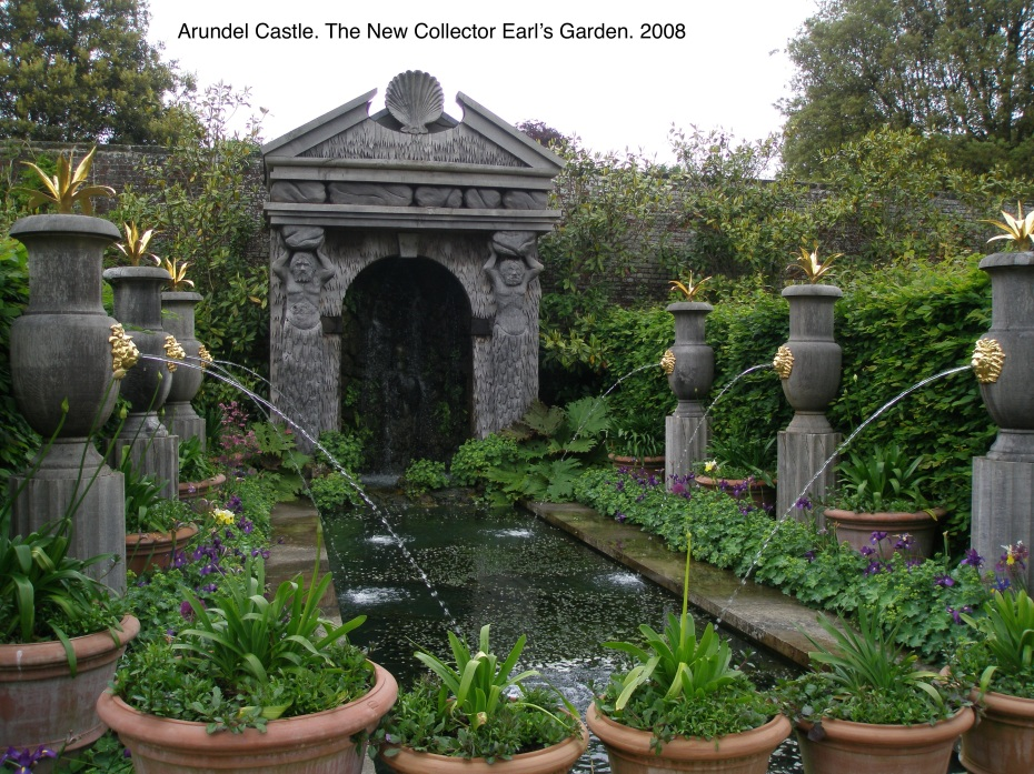 All of the sections of the New Collector Earl's Garden were designed by Isabel and Julian Bannerman. The Bannermans' gardens include ornamental features inspired by the classical garden vocabulary, which are modernized by carvings made of green oak, used in place of stone. When the green oak ages, the wood becomes as unbreakable as rock.