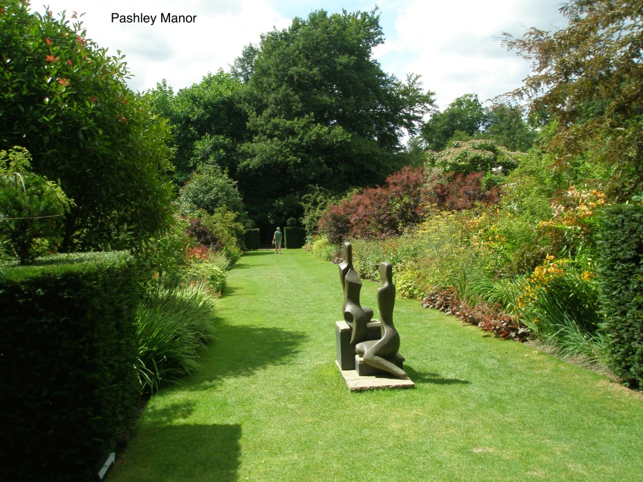 Sculpture on a grass path welcomes us. (Note: Pashley Manor is another of the many gardens that Blue Badge Guide Amanda Hutchinson and Chariot-Driver Steve Parry have taken me to. And in July of 2015,  Amanda and Steve and I will resume our touring; this time concentrating upon Surrey, and East Sussex...and with a bit more of Kent, thrown in for good measure). Amanda's contact info can be found in the Borde Hill section of this Diary.)