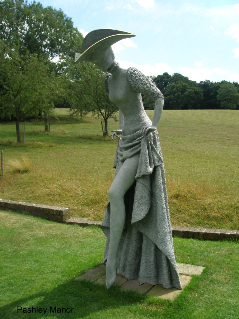 At the edge of the Ha-Ha that separates the gardens from sheep meadows, this 8 foot tall lady exposes her shapely leg.