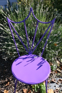 My Tiara Chair, amidst blooming lavender, in my Oregon gardens.
