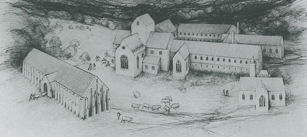 Reconstruction of how the Abbey might have looked shortly after it was built in the late 13th century. Image courtesy of The National Trust.