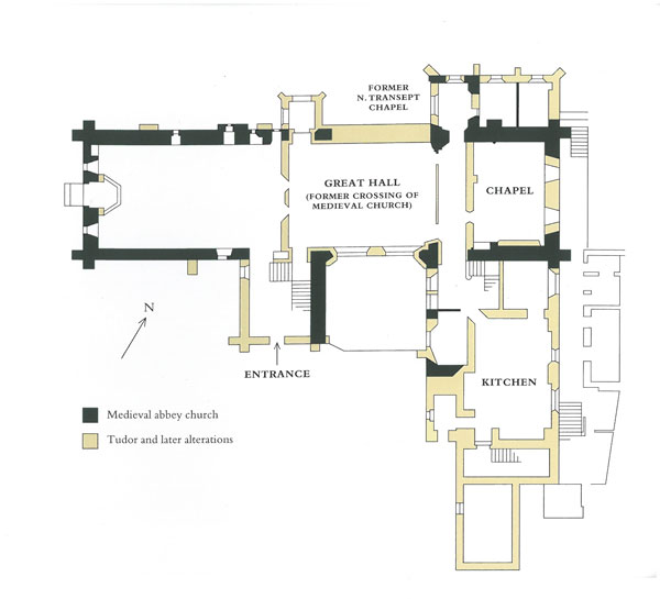 Plan of the ground floor rooms of Buckland Abbey. Image courtesy of The National Trust