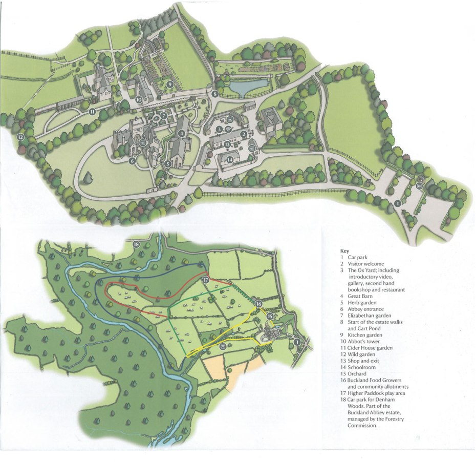 Plan of Buckland Abbey's Gardens; and a Map of the Walks across the landscape of the Estate. Key to Estate Walks: YELLOW= Abbots Walk, 1 mile. GREEN=Grenville Walk, 1 ½ miles. RED=Drake Walk, 2 ½ miles. BLUE=Amicia Walk, 3 miles