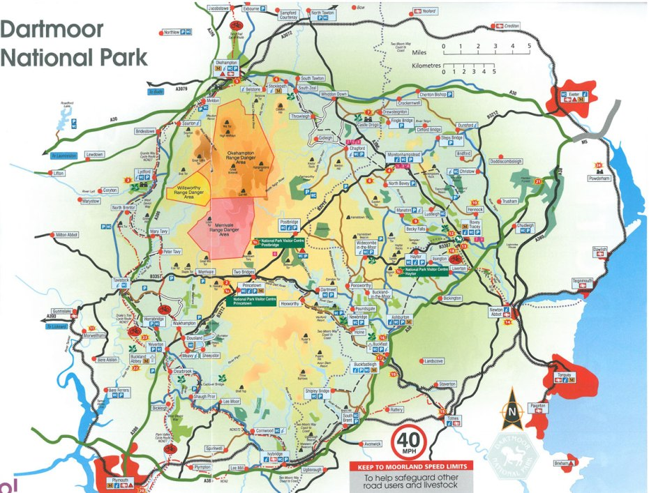 Map of Dartmoor National Park. website: www.dartmoor.gov.uk