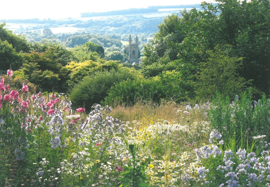 Talk about a Great Borrowed View! A distant church, as seen from within the Wildflower Meadow. Image courtesy of The Garden House.