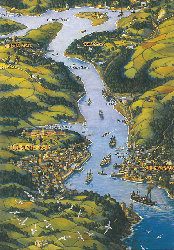 Bird's eye view of the Dart estuary. Image courtesy of The National Trust.