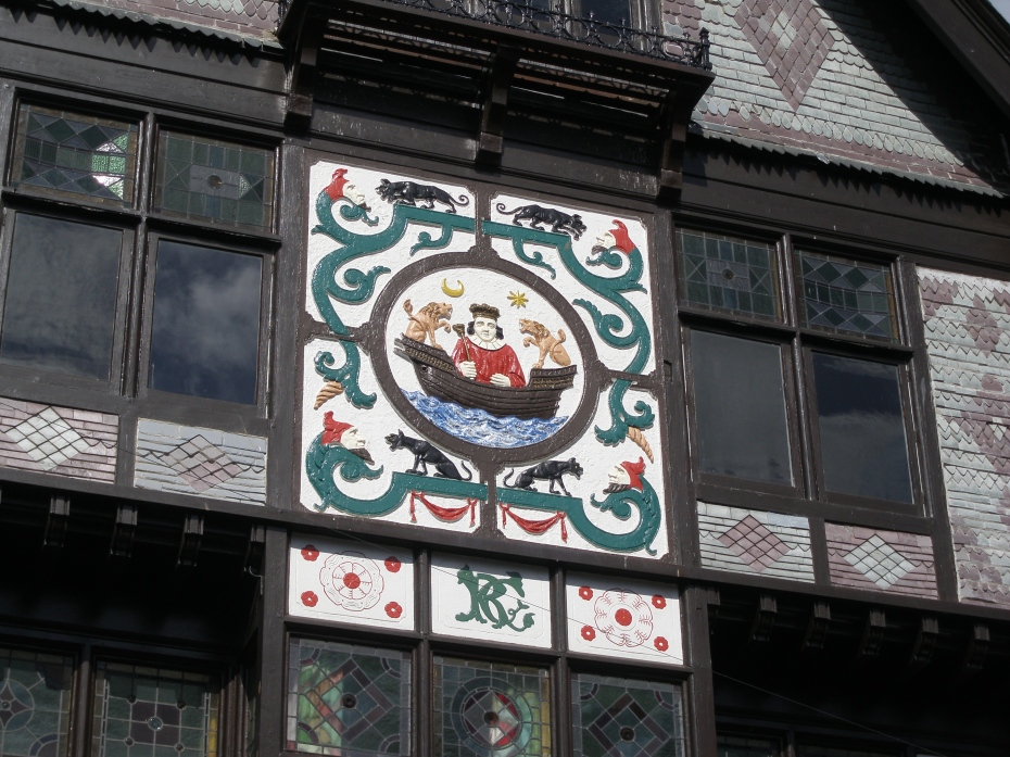 Detail of central decoration, framed by more Green Men