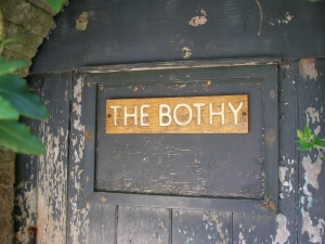 And WHAT, pray tell, is a BOTHY? It's a Scottish Highlands term for a VERY basic gardener's cottage. By the time of the Mallowans, this hut was used to store coal and firewood.