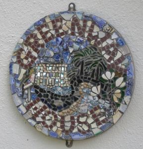 As we exited through the Back Hall, we found this Mosaic Name Plate, formed from broken crockery.