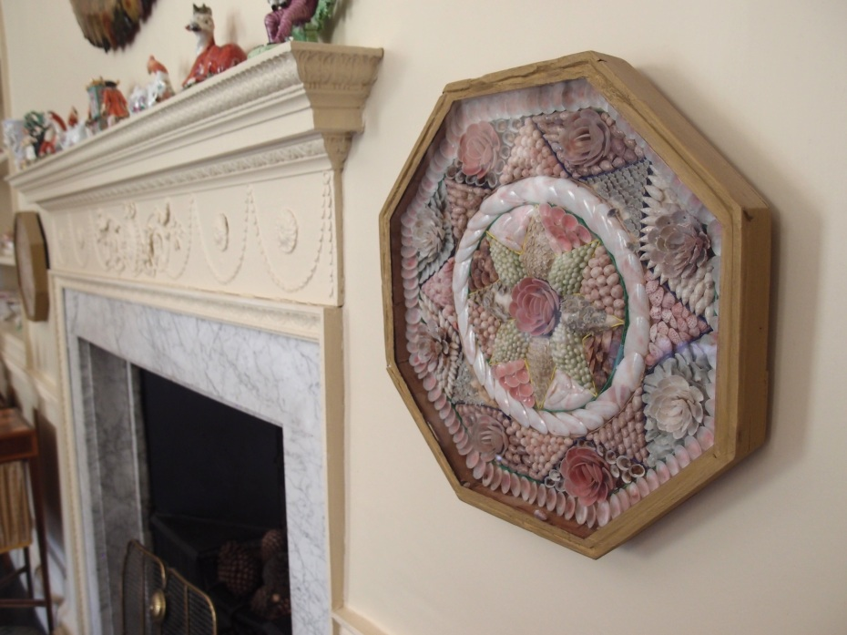 Detail of Shell Decoration, and Fireplace Mantle, in the Morning Room.