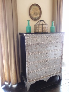 Agatha bought this mother-of-pearl inlaid chest of drawers in Damascus, in 1929.
