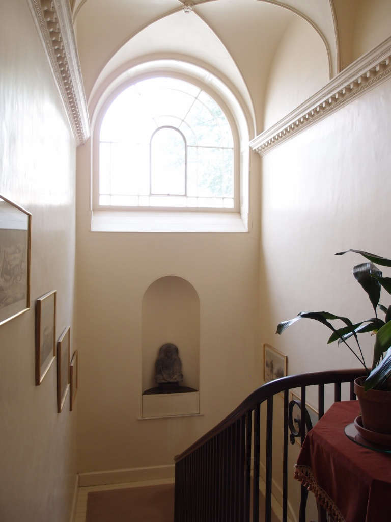 We headed back down the Main Stairway, where we admired its groined ceiling, and arched clerestory window.