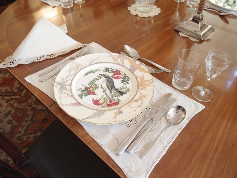 A beautiful place setting, in the Dining Room