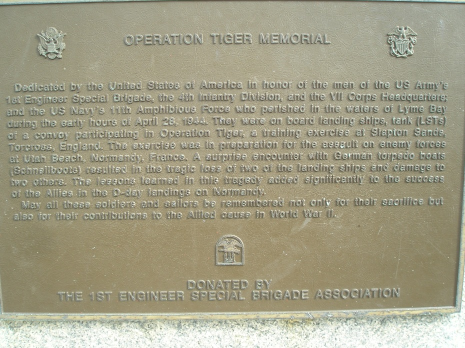 Operation Tiger memorial plaque at Slapton Sands