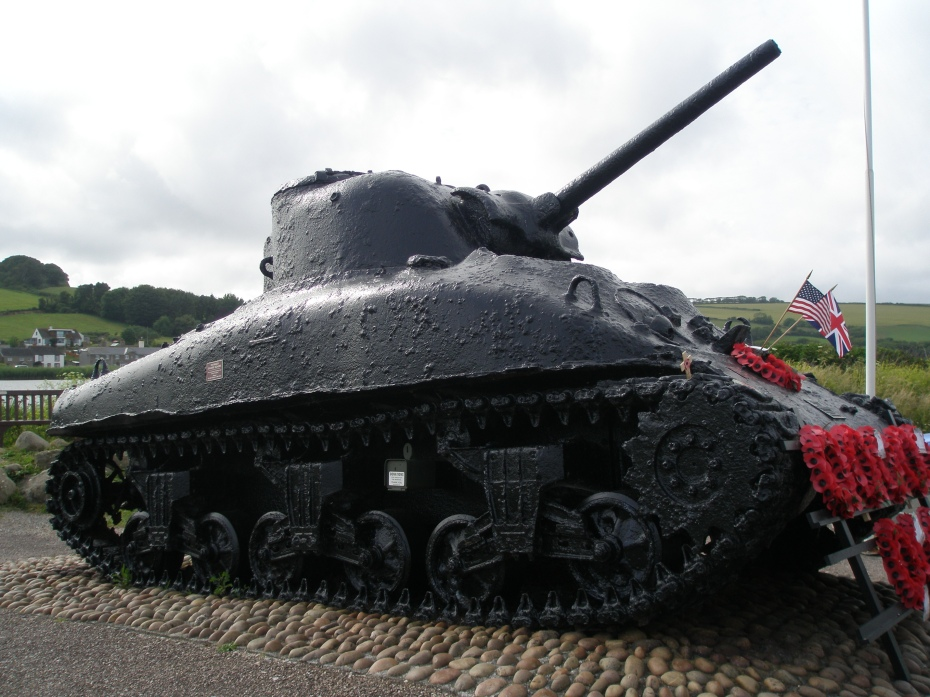 A Sherman Tank, lost at sea on April 28, 1944, and now dragged ashore. On display at Torcross.