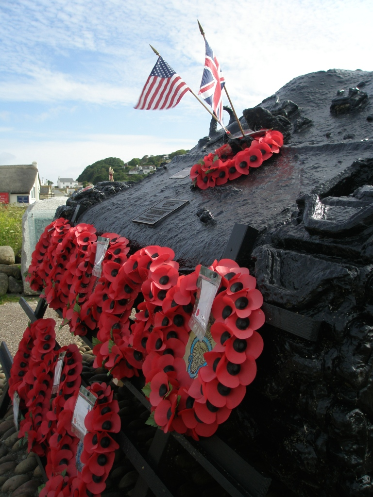 The locals make sure that poppies of remembrance always adorn the Sherman Tank at Torcross