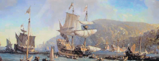 In Dartmouth Harbor: Bayard's Cove. Here, in 1620, the Speedwell docked to make repairs, before its planned voyage to the New World.