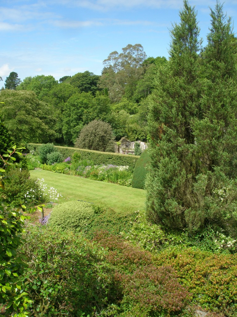 From behind the House, we peered down to the Tennis Court Lawn, which is on an upper terrace of the Walled Garden.