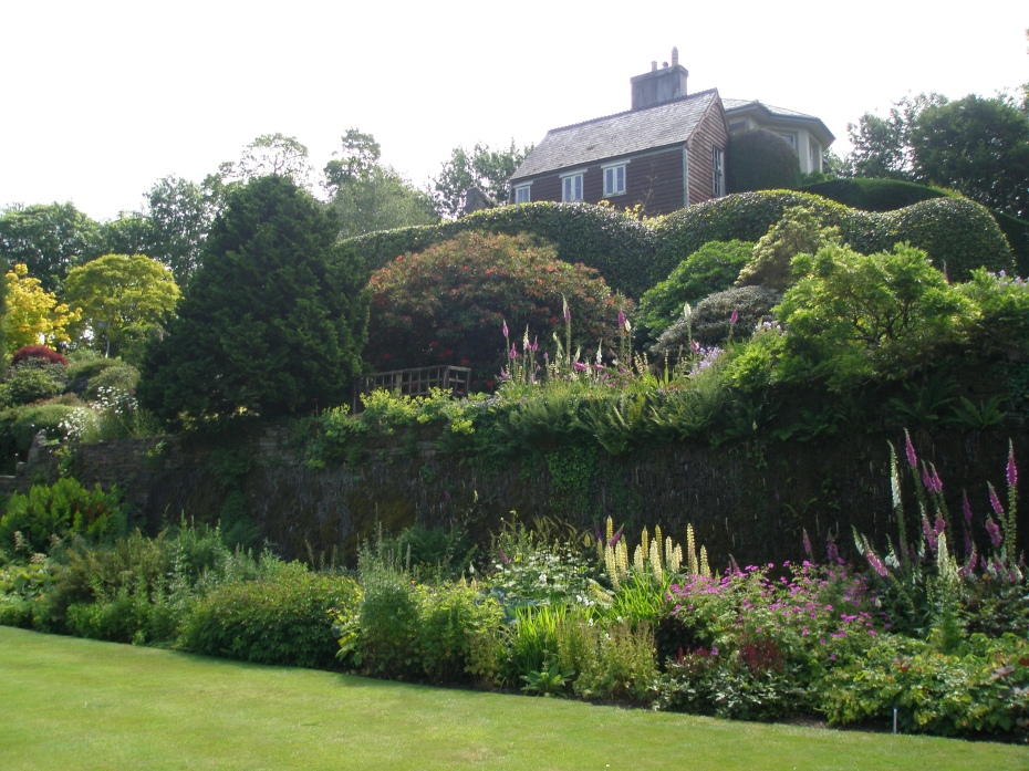 The Walled Garden's Tennis Court Lawn, with a view uphill, to the Main House. Foxgloves were in their full glory.