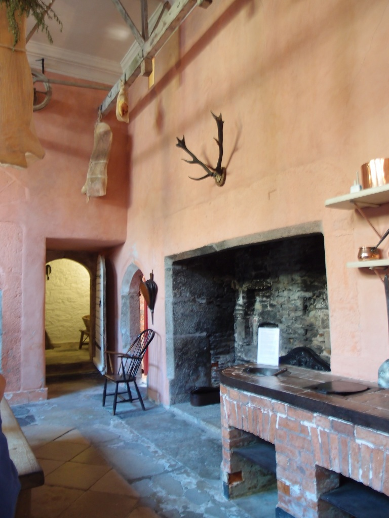 The second of the massive Hearths in the Kitchen. The antlers above the south Hearth are (fancifully) said to belong to a stag who once chased Sir Francis Drake up a tree.
