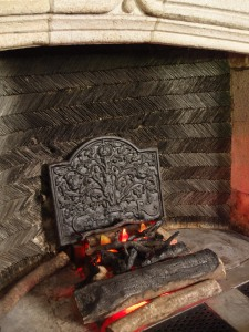 Detail of hearth, in the Great Hall