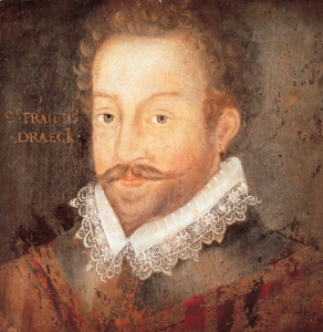 Sir Francis Drake. Born circa 1540, in Devon. Died 1596, in Panama.