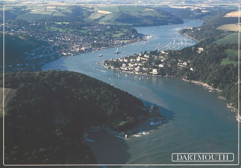 Aerial view of the River Dart. Dartmouth is on the left, and Kingswear on the right.