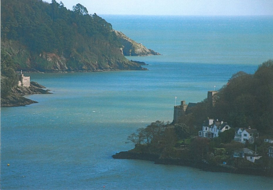 The River Dart meets the English Channel. A defensive Castle has been on this site since 1387. The current Castle (seen on the right) dates from the late 15th century. The innovative 3-storey Gun Tower was the first in England to have guns as its major armament.