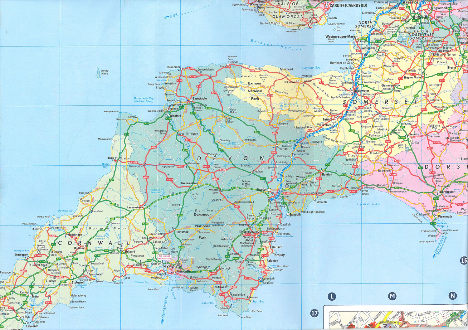 My travel-frayed Map of Devon, England