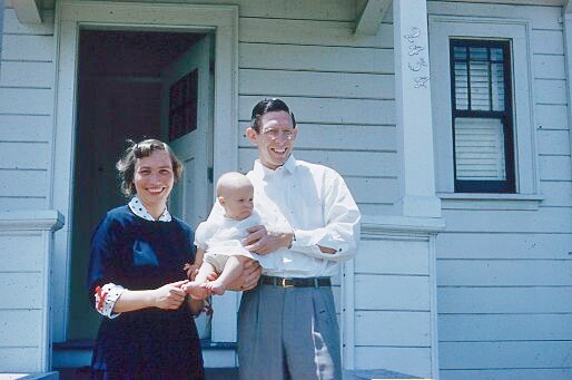 Berkeley, California, 1953. Nan and her parents, Hazel and Elwyn, outside of their home at 2434 Byron Avenue. Photo courtesy of Emily Hook